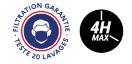 logo filtration garantie masque et durée d'efficacité de filtration de 4h